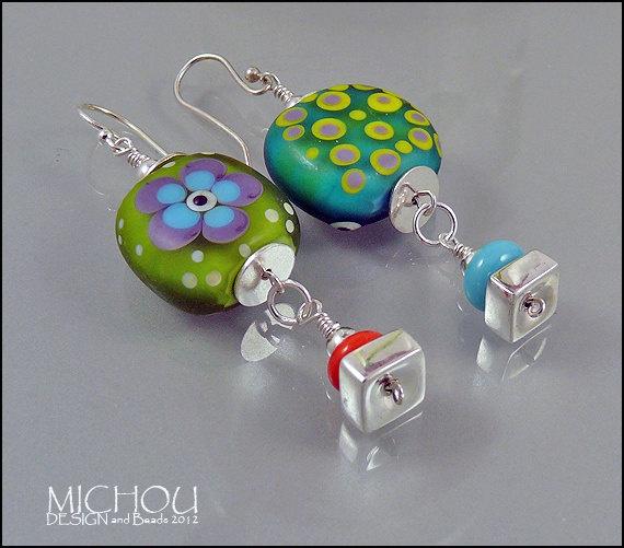 Bright Happy - Lampwork Beads - handmade glass bead earrings, by Michou