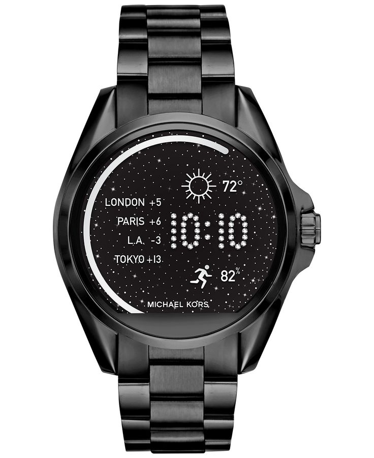 You'll love the dark dramatic look of this feature-filled smartwatch from Michael Kors' spectacular Bradshaw collection. | Smartwatch movement | Features include accelerometer and gyroscope sensors, e