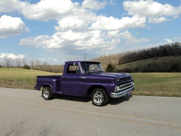 Looking for a truck for Q and found this one that I would love to own.  Straight from Harrison, my home town.  Check out my other pin to see the interior.  Love it.  65 Chevy Stepside Pickup, Purple - good looking!