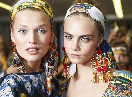 Toni Garrn and Cara Delevingne - Dolce & Gabbana S/S 2013 - Backstage