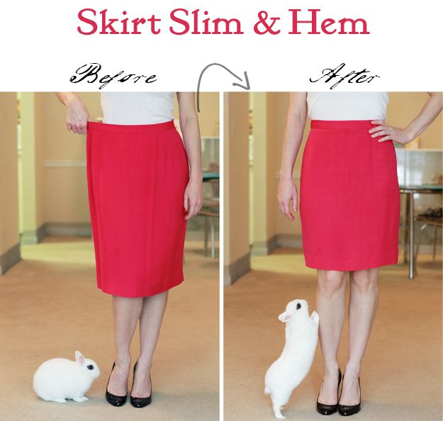 DIY tutorial: great step-by-step instructions on taking in the waist & hemming a lined skirt