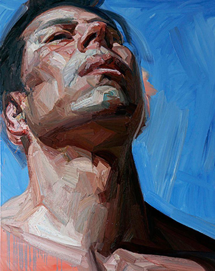 Artist: Tai-Shan Schierenberg (b. 1962), oil on canvas {figurative #expressionist art male head grunge man face portrait drips} taishanschierenberg.com