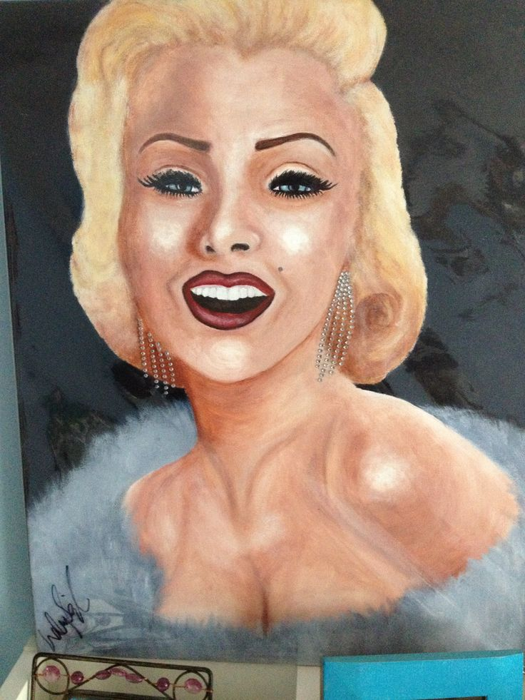 first painting i did, Marilyn Monroe. acrylic paint