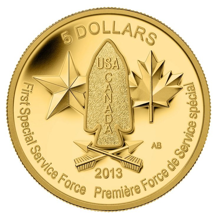 Royal Canadian Mint 2013 $5 Pure Gold Coin - Devil's Brigade $649.95 #coin #coins #gold #military