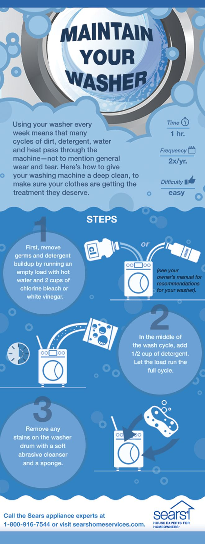 Washing Machine Maintenance Tip: Give your washer a little TLC by cleaning it twice a year. This cleaning hack combines water and vinegar or bleach to remove germs and detergent buildup.