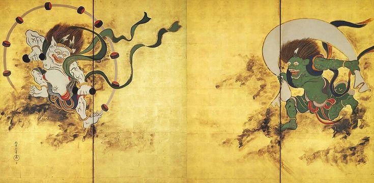 酒井抱一作:「風神雷神屏風図」(1821) さらに111年後、光琳複写図を模写、俵屋宗達の原本は見ていないもよう(出光美術館蔵)  鈴木其一は、酒井抱一作を見て模写