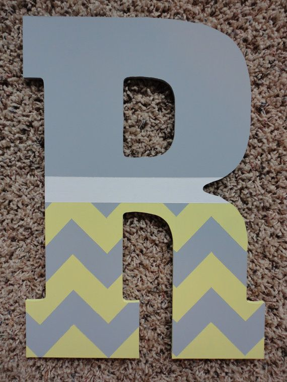 Hand Painted Wooden Letters Chevron and Polka Dots by WallApproved,