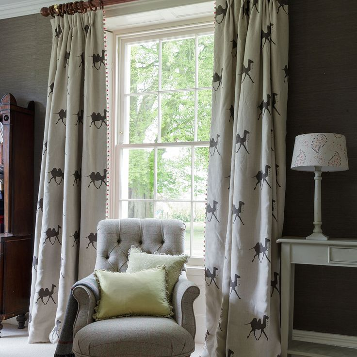 Susie Watson Pushkar Camel curtain inspiration, perfect for a bold and sophisticated drawing room - Linen Camels Graphite -