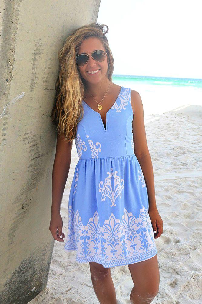 Maracas Beach Blue Printed A-Line Dress – Amazing Lace