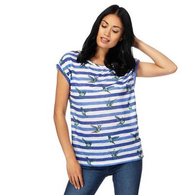 The Collection Navy striped hummingbird print t-shirt with linen | Debenhams