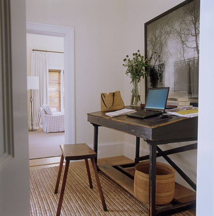 Ina's office space is in an alcove outside the bedroom. The antique desk is from Bloom in Sag Harbor. Photo of Luxembourg Gardens by Jean-Michel Berts. Walls are Farrow & Ball White Tie.   - HouseBeautiful.com