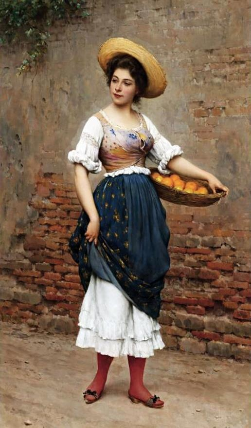 Eugene de Blaas (Italian painter) 1843 - 1932 Young Woman with Basket of Oranges and Lemons, 1902 oil on panel 39 1/2 x 23 1/4 in.
