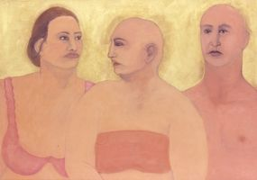 "Sylvia Sherwin Goldberg, Linda and Chuck, 2007  oil pastel and pencil on paper  22"" x 36"""
