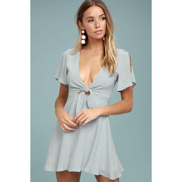 Sea Day Light Blue Skater Dress ($54) ❤ liked on Polyvore featuring dresses, blue, short-sleeve dresses, light blue skater dress, short sleeve skater dress, green skater skirt and skater skirt
