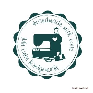 kukuwaja - Motivstempel Nähmaschine Handmade with Love - mit Liebe handgemacht