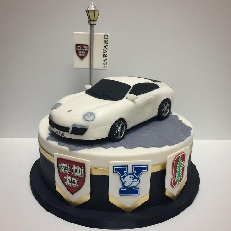 A Porsche Groom's cake! For a groom who's proud of his alma maters! #deliciousarts #customcake #porsche #groomscake #harvard ##yale #stanford #edible #sugarart #westla #westpico #losangeles #wedding #gift #bakery #car #carcakd