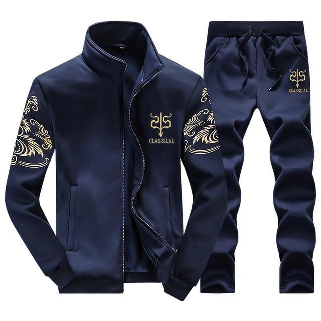 Men Gym TrackSuit Zipper Sport Jacket Sweater Suit Set Trousers Pants Jogging