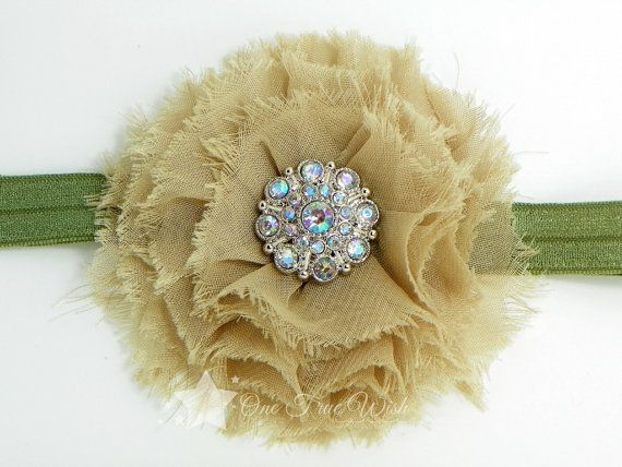 Army baby elastic headband, tan, shabby flower, frayed flower, green, fall, baby headband, infant headband, newborn headband, girl, child on Etsy, $6.99