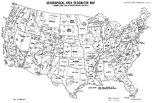 Geographic Areas of the United States labeled with terminology used in aviation weather forecasts, National Weather Service, 1990.