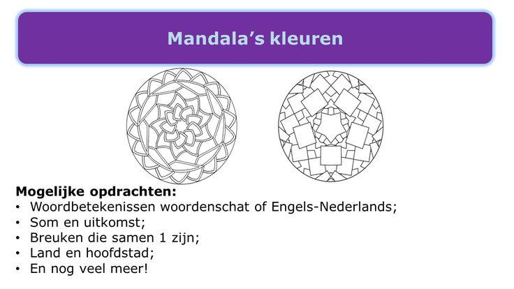 Onthouden van feitjes die bij elkaar horen. Print de mandala uit. Schrijft telkens 2 woorden op die bij elkaar horen. De kinderen kleuren deze vlakken met dezelfde kleur.