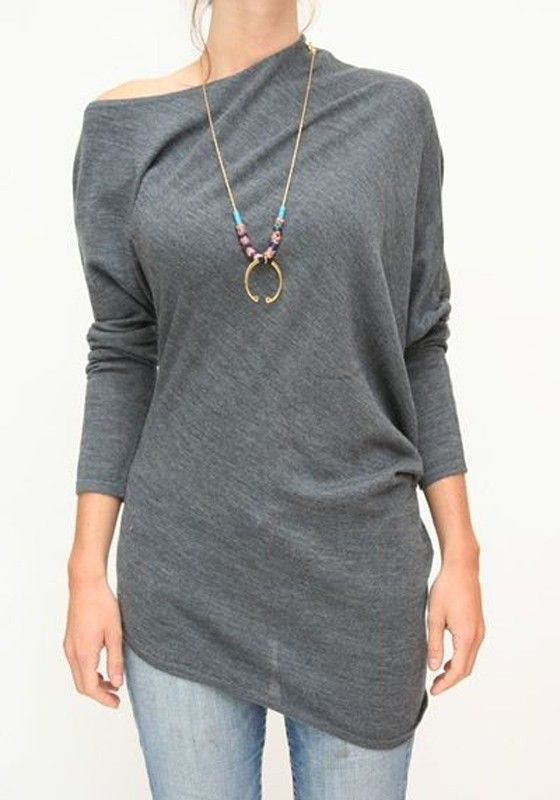 Need a top that's easy to wear no matter what kind of bottom you're wearing? Then this grey irregular T-Shirt is it.