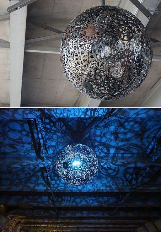 Upcycling Lampe Zahnräder #diy #lampen #upcycle