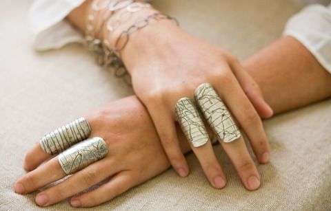"""Seattle metalsmith Shelli Markee's """"Finger Armor"""" rings"""
