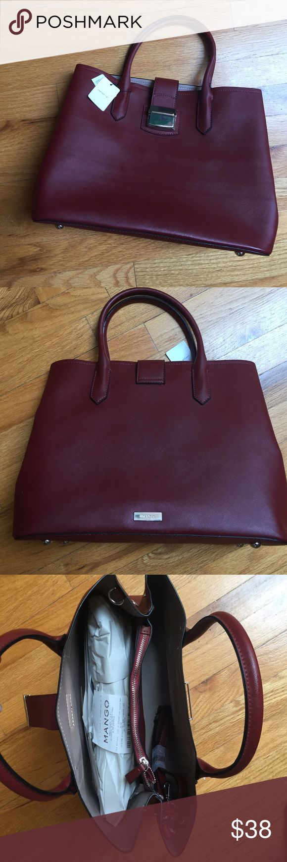 """NWT mango laptop hand bag Brand new, bought in paris, France mango bag,  color merlot with cream interior, waterproof material, big enough to fit 13"""" laptop, wallet pouch attached inside and comes with long strap to wear cross shoulder Mango Bags Laptop Bags"""