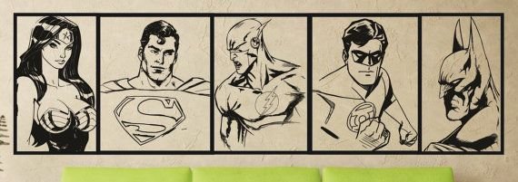 Large A2 DC Comics Justice League Batman Green Lantern Superman The Flash Wonder Woman Wall Art Vinyl Sticker Home Decor Living Room Bedroom on Etsy, $18.69 AUD