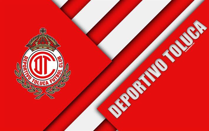 Download wallpapers Deportivo Toluca FC, 4k, Mexican Football Club, material design, logo, red white abstraction, Toluca de Lerdo, Mexico, Primera Division, Liga MX