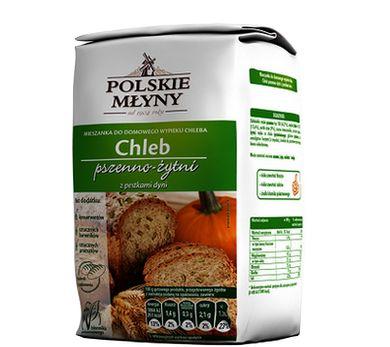 Chleb domowy z pestkami dyni. Gotowa mieszanka, która pozwoli nam stworzyć pyszny domowy chleb.  Dodatek pestek dyni doda wypiekowi wyjątkowych walorów smakowych. Jedno opakowanie wystarczy do przygotowania aż 2 bochenków chleba, które zachwycą smakiem oraz chrupkością.