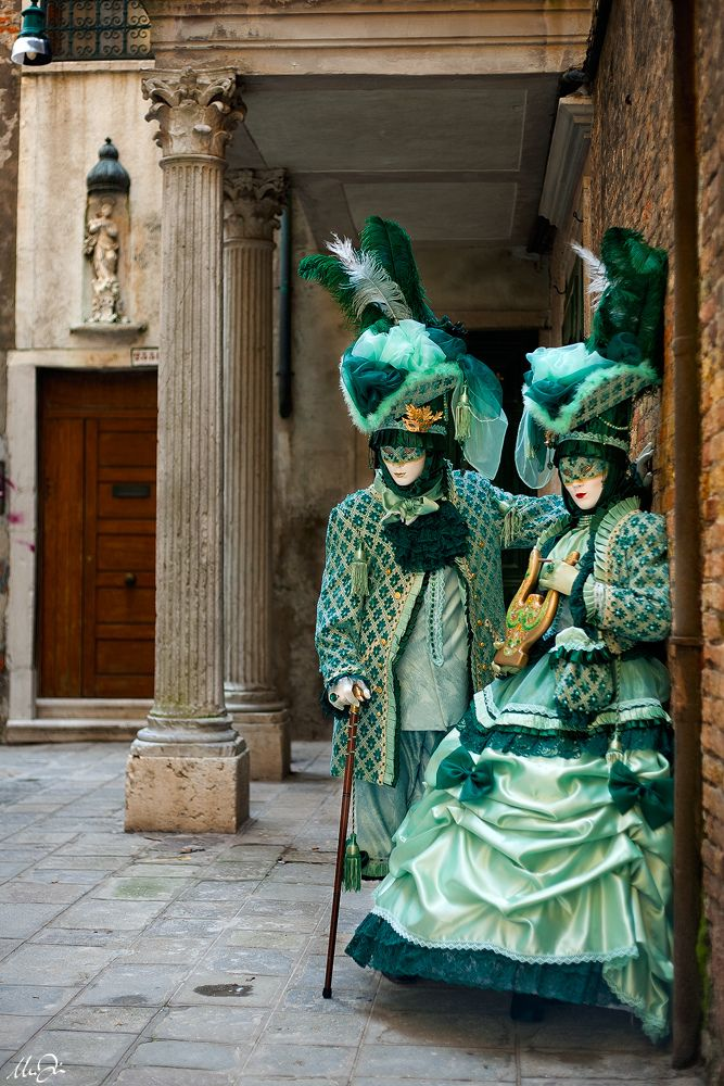 A couple in the lovliest green/blue costumes from Venice Carnival 2011 | Flickr - Photo Sharing!
