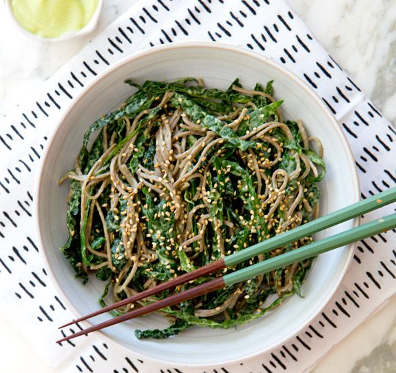 KALE NOODLE BOWL WITH AVOCADO MISO DRESSING via A House in the Hills