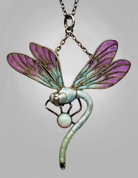 Jugendstil Dragonfly Pendant c1900 | MEYLE & MAYER | silver, plique-à-jour enamel, opal