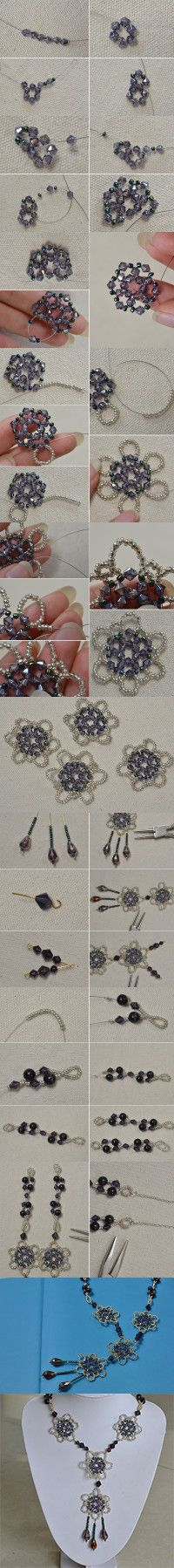 A Unique Design on How to Make a Big Purple Beaded Flower Pendent Necklace from LC.Pandahall.com    #pandahall