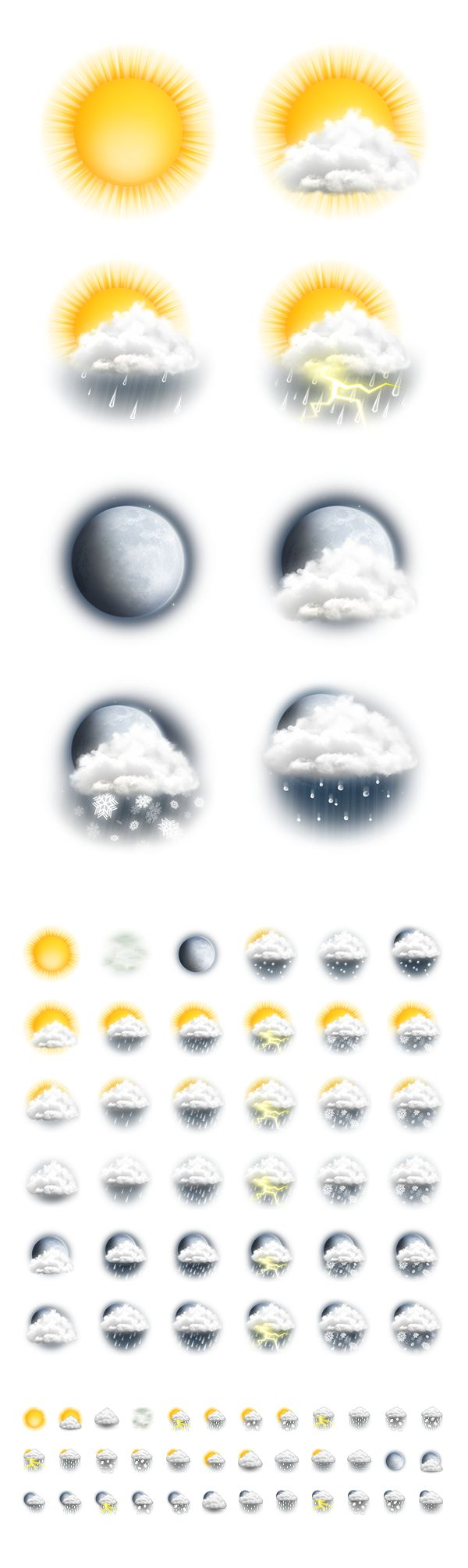Weather icons, sun, clouds, moon, rain, snow and lightning illustration