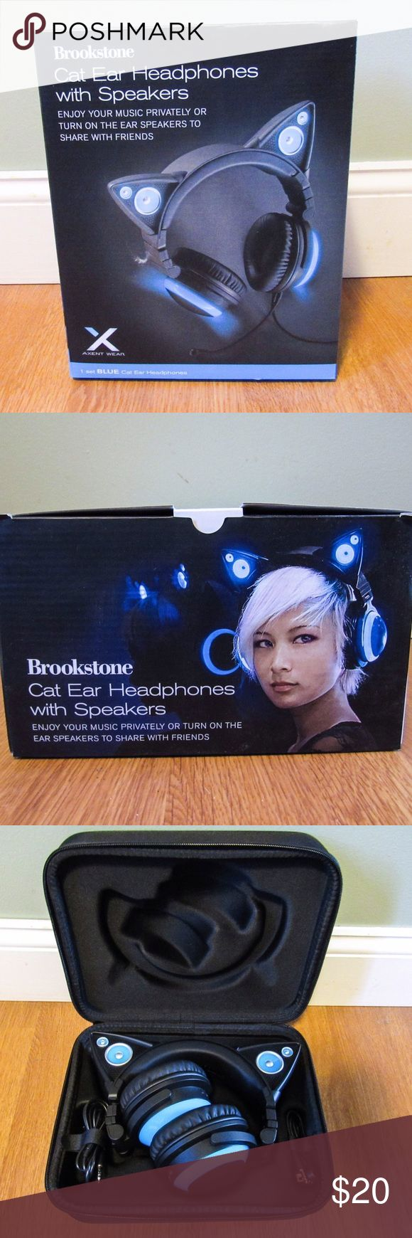 Headphones with Speakers BRAND NEW IN BOX. Over-the-ear headphones with cat ear-shaped speakers on top by Brookstone. You can listen by yourself or with friends! Come in super cute black and blue design. See last photo for technical details. These would make a great Christmas gift for any music or cat lover in your life!! Reasonable offers accepted, immediate shipping Brookstone Accessories