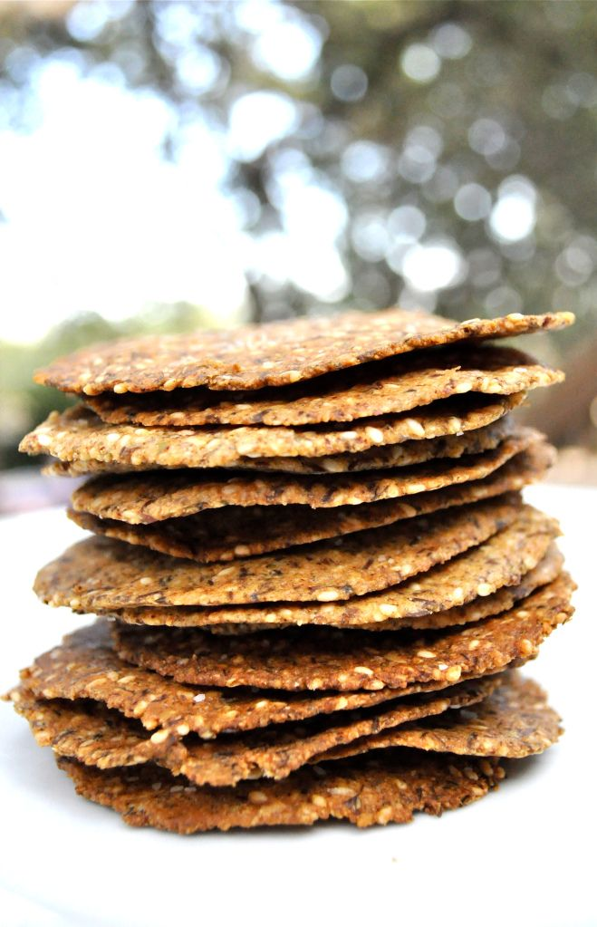"""Paleo flax crackers - grind up and use for """"Shake 'n bake"""""""