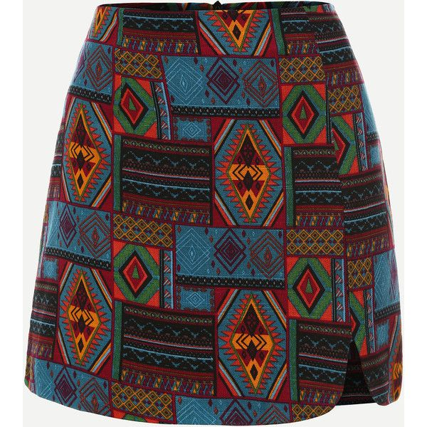 Multicolor Tribal Print A Line Skirt ($15) ❤ liked on Polyvore featuring skirts, multi color skirt, multi colored skirt, tribal skirt, tribal print skirts and colorful skirts