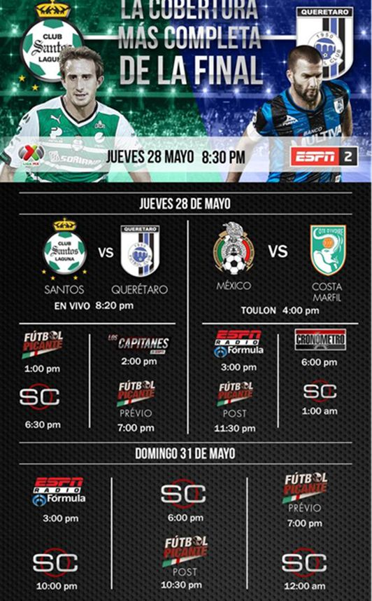 Final Liga MX En VIVO Por ESPN 2 Jueves 28 De Mayo Entre Santos Vs. Querétaro