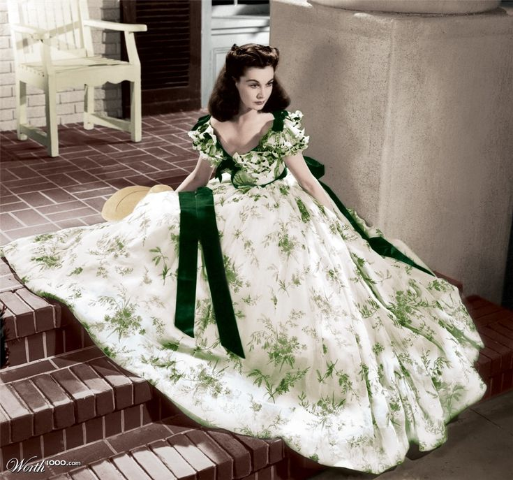 The green garden party dress from Gone with the Wind, as worn by Vivien Leigh as Scarlett O'Hara (colorized photo)