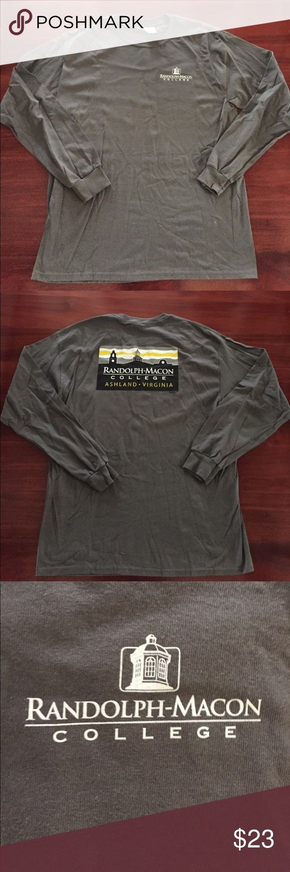 💥 RANDOLPH-MACON COLLEGE ASHLAND VIRGINIA T-SHIRT 💥 RANDOLPH-MACON COLLEGE ASHLAND VIRGINIA LONG SLEEVE T-SHIRT. SIZE: XL MADE IN HONDURAS 100% COTTON. COLOR: GRAY . PREOWNED. SOLD AS IS Shirts Tees - Long Sleeve