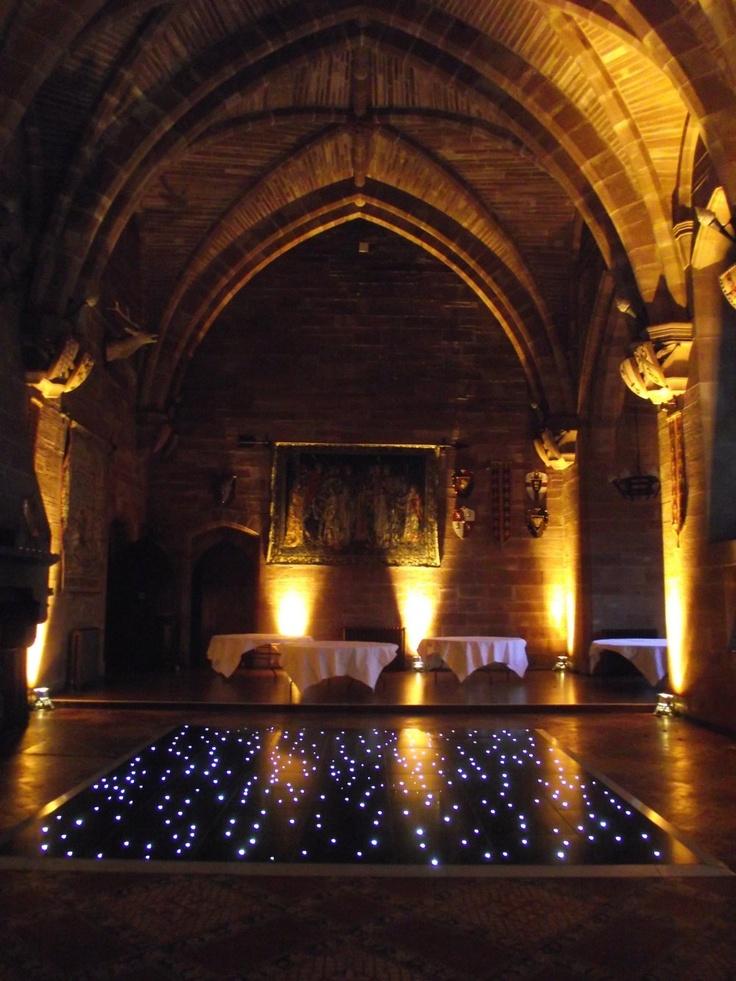 Black LED Dance Floor And Warm White Up Lighting At Peckforton Castle