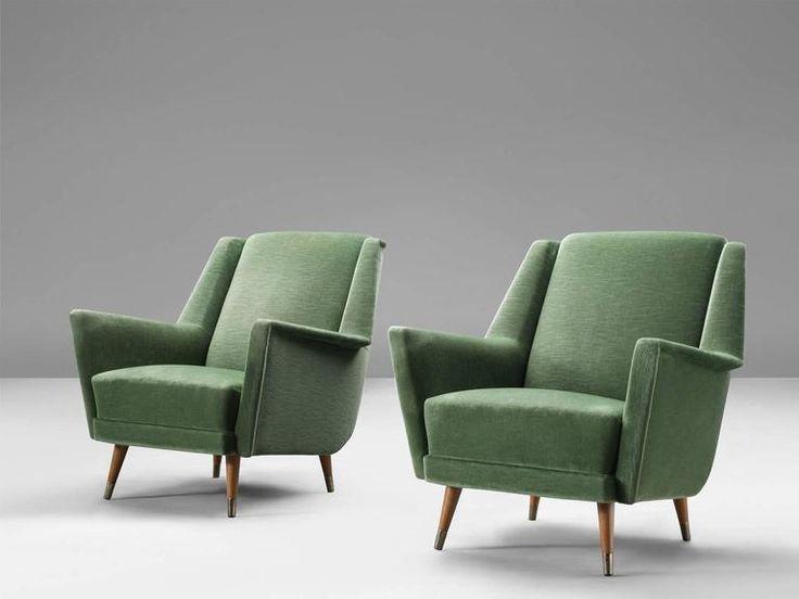 Set of Two Velvet Italian Armchairs For Sale at 1stdibs