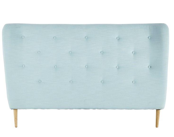Testata da letto imbottita azzurro turchese in tessuto 140 cm Iceberg