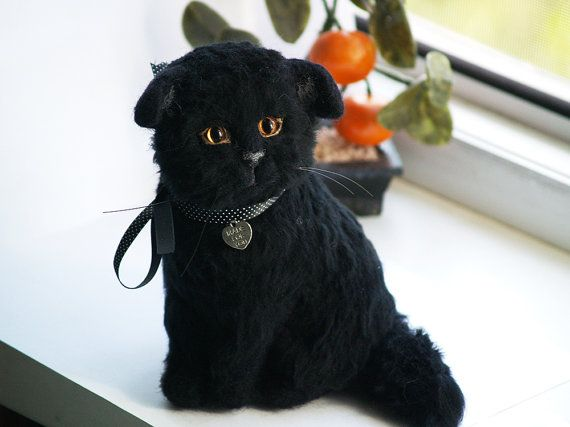 Needle felting art cat Scottish fold black cat soft by AmiraliFelt