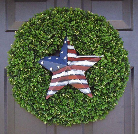 American Flag Star Patriotic Wreath July 4th by ElegantWreath, $95.00
