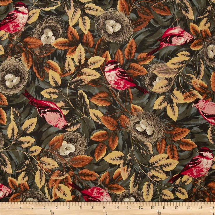 Flutter Birds & Nests Brown from @fabricdotcom  Designed by Alex Anderson for RJR Fabrics, this cotton print is perfect for quilting, apparel and home decor accents. Colors include brown, gold, red, grey, green, natural and sienna.