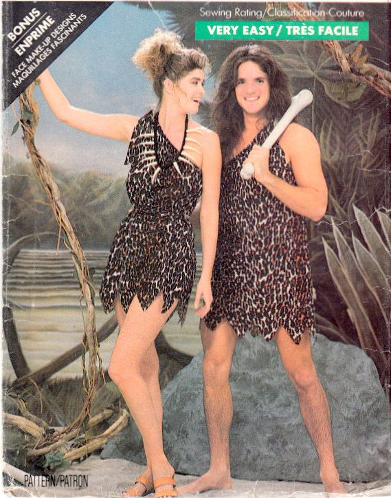 Man Cave Uncut : Caveman and cavewoman adult costume sewing pattern