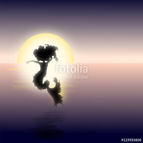 A mermaid jumping out of the water at sunset #mermaid #sunset # water #sea #ocean #beautiful